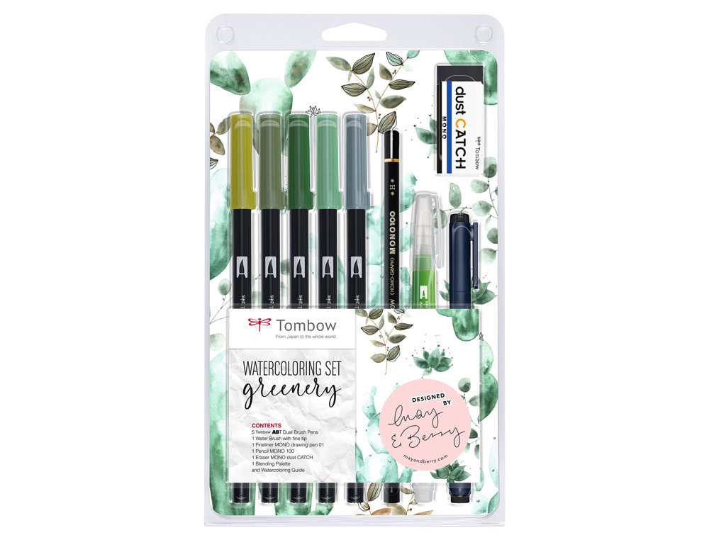 Set watercoloring tombow greenery 9 piezas