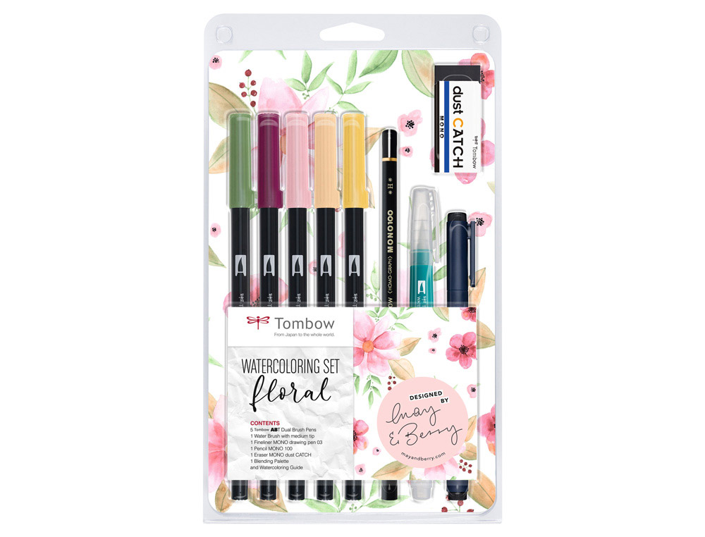 Set watercoloring tombow set floral 9 piezas
