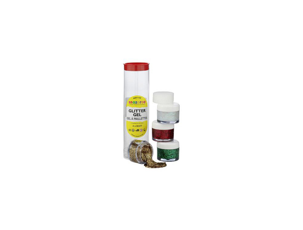 Gel purpurina snazaroo 4 colores blanco / dorado / rojo / verde bote 8 ml